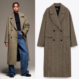 Zara Houndstooth Wool Blend Oversized Long Coat